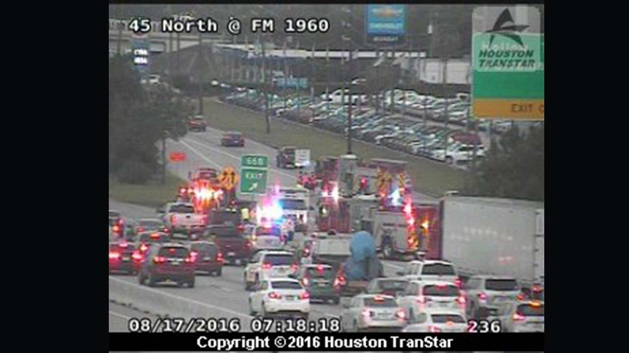 North Fwy at FM 1960 jammed by major accident
