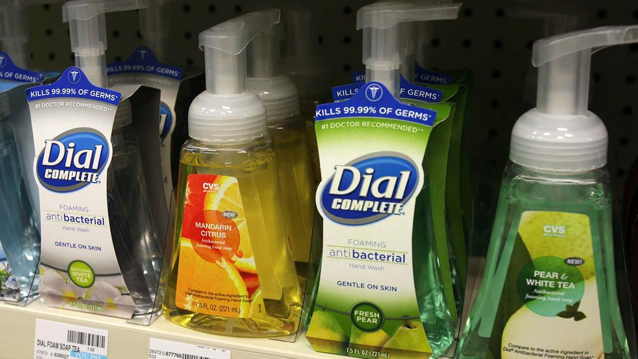 Soaps containing the antibacterial chemical triclosan are displayed on a shelf at a pharmacy