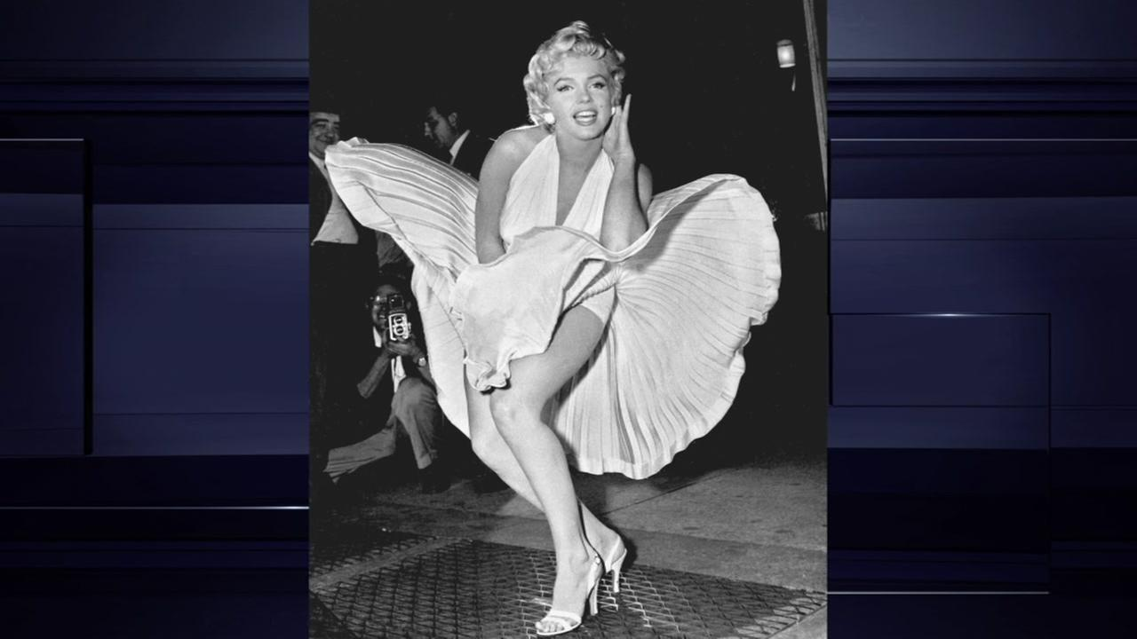 Marilyn Monroe poses over the updraft of New York subway grating while in character for the filming of The Seven Year Itch in Manhattan on September 15, 1954.