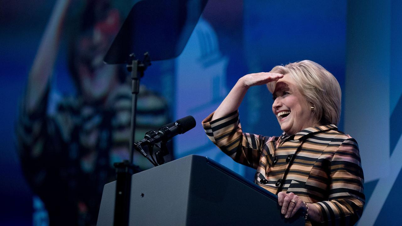 Hillary Clinton pauses while speaking at the Congressional Hispanic Caucus Institutes 39th Annual Gala Dinner at the Washington Convention Center.