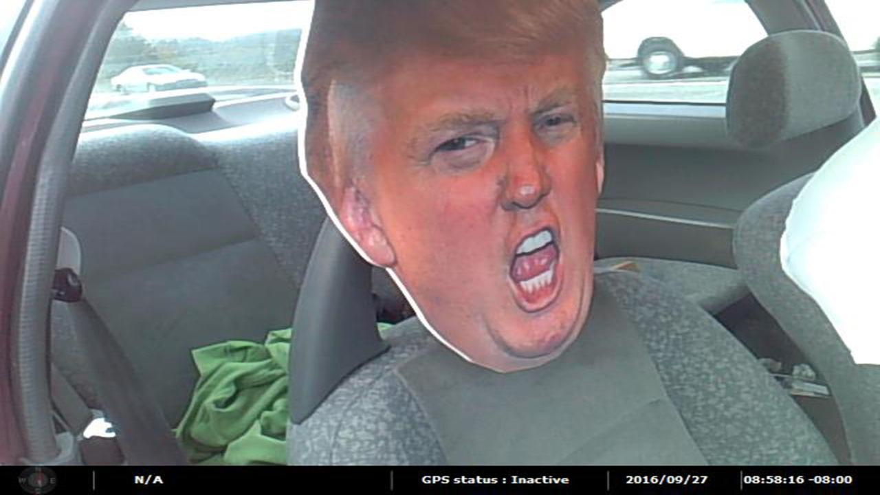 Giant cut-out of Donald Trump