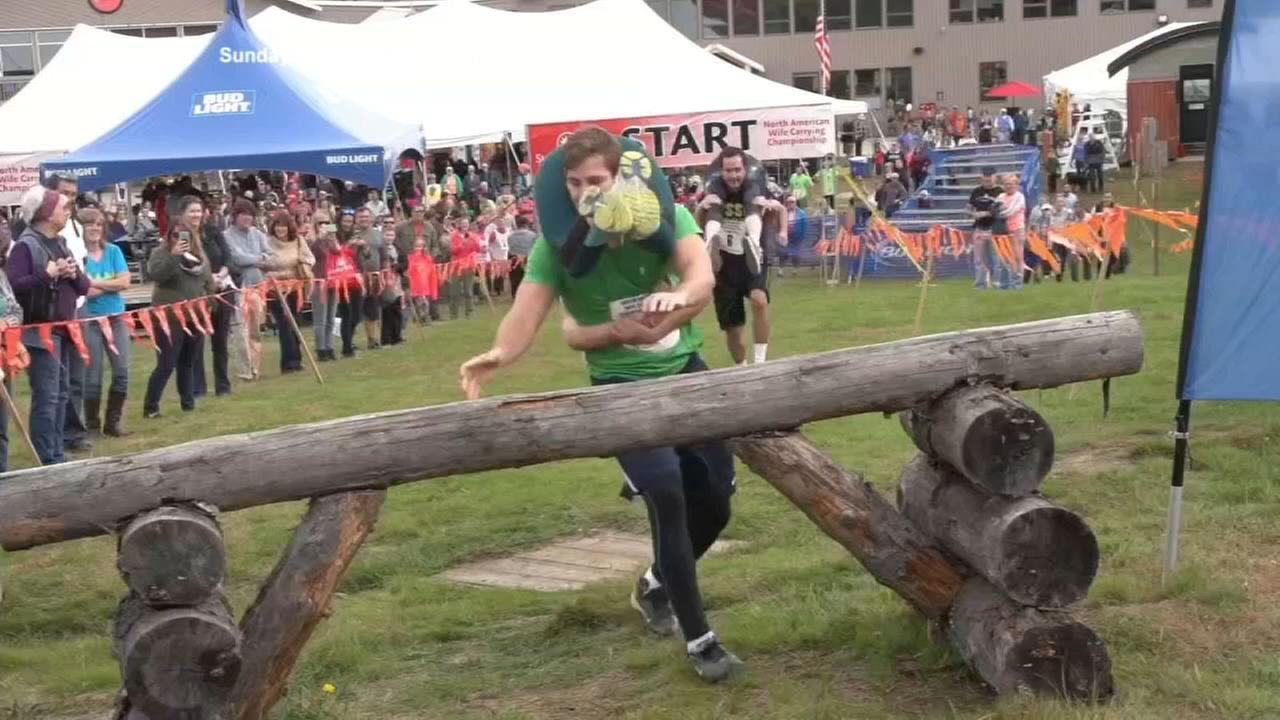 Some tumbles during North American Wife Carrying Championship