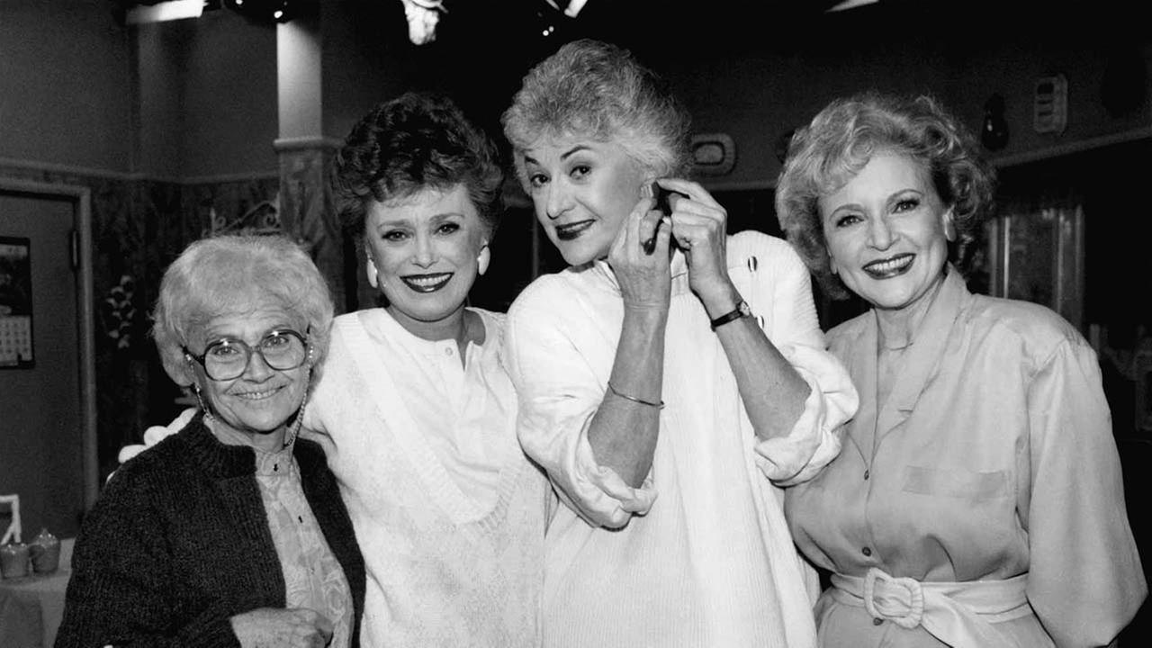 The  Golden Girls shown during a break in taping Dec. 25, 1985 in Hollywood. From left are, Estelle Getty, Rue McClanahan