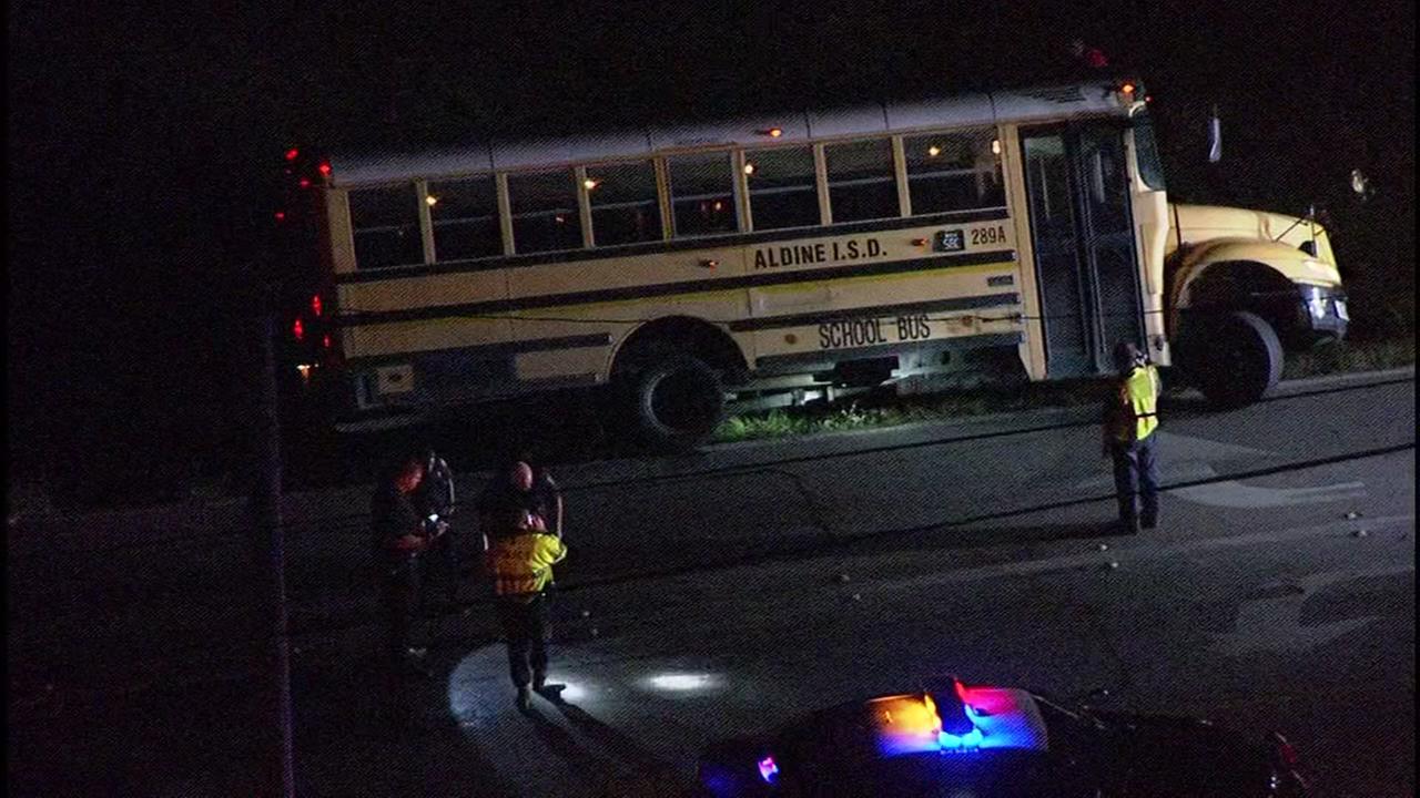 Aldine ISD school bus crashes into ditch