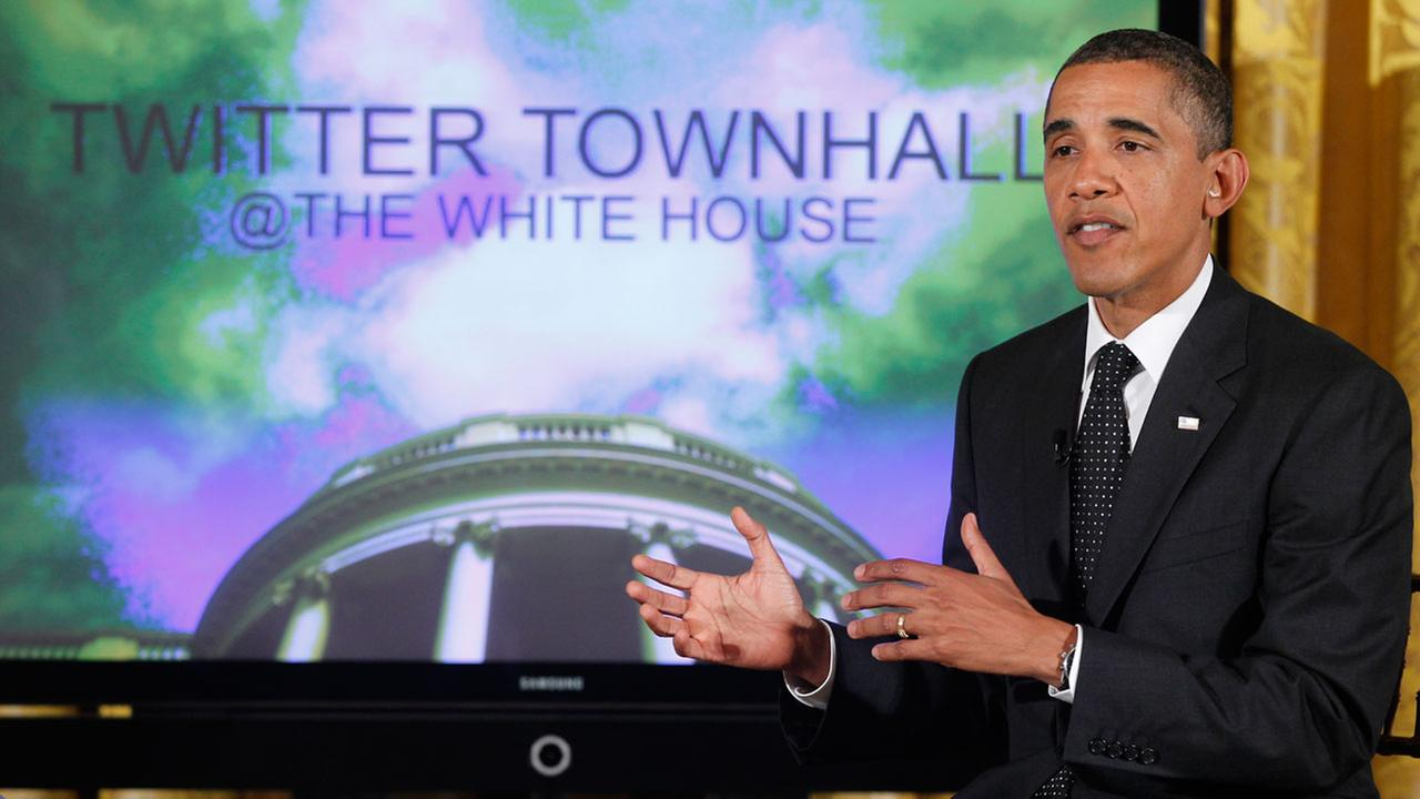 President Barack Obama speaks during a Twitter Town Hall in the East Room of the White House in Washington, Wednesday, July 6, 2011.