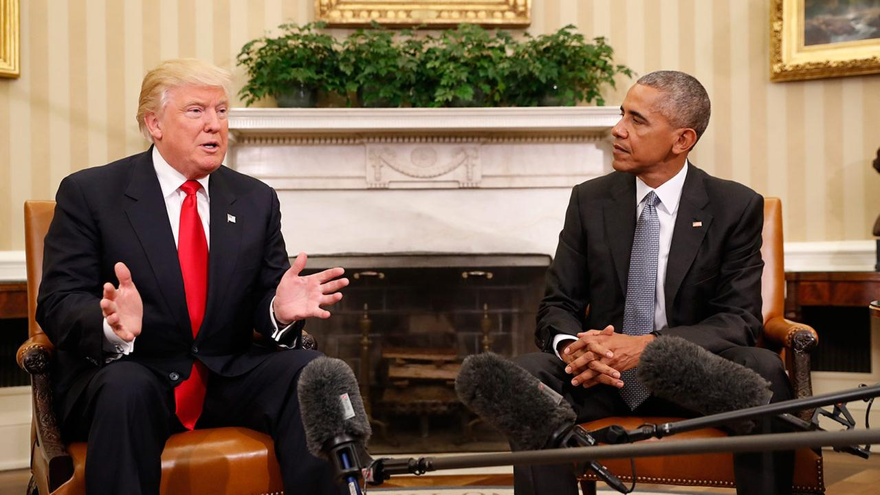 President Barack Obama meets with President-elect Donald Trump in the Oval Office of the White House in Washington, Thursday, Nov. 10, 2016.