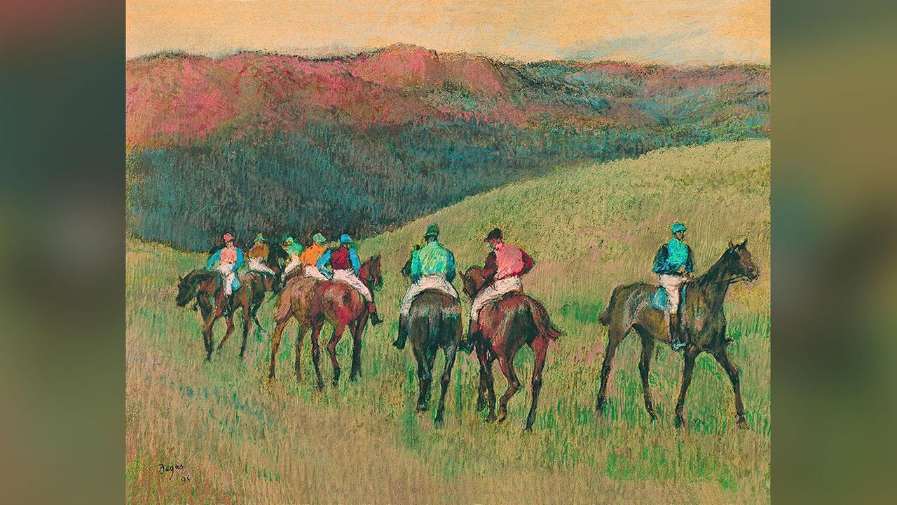 Edgar Degas, Racehorses in a Landscape, 1894, pastel on paper, Carmen Thyssen-Bornemisza Collection on deposit at Museo Thyssen-Bornemisza, Madrid.
