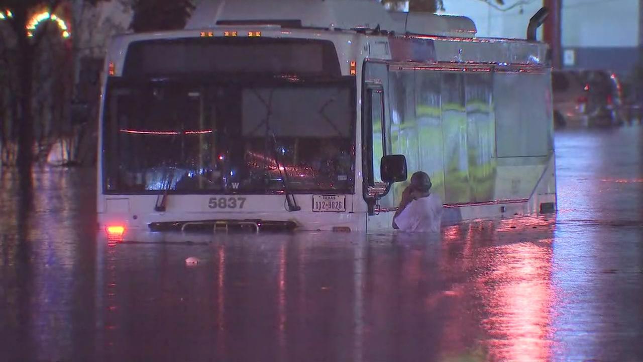 Floodwaters wreak havoc on Houston roadways
