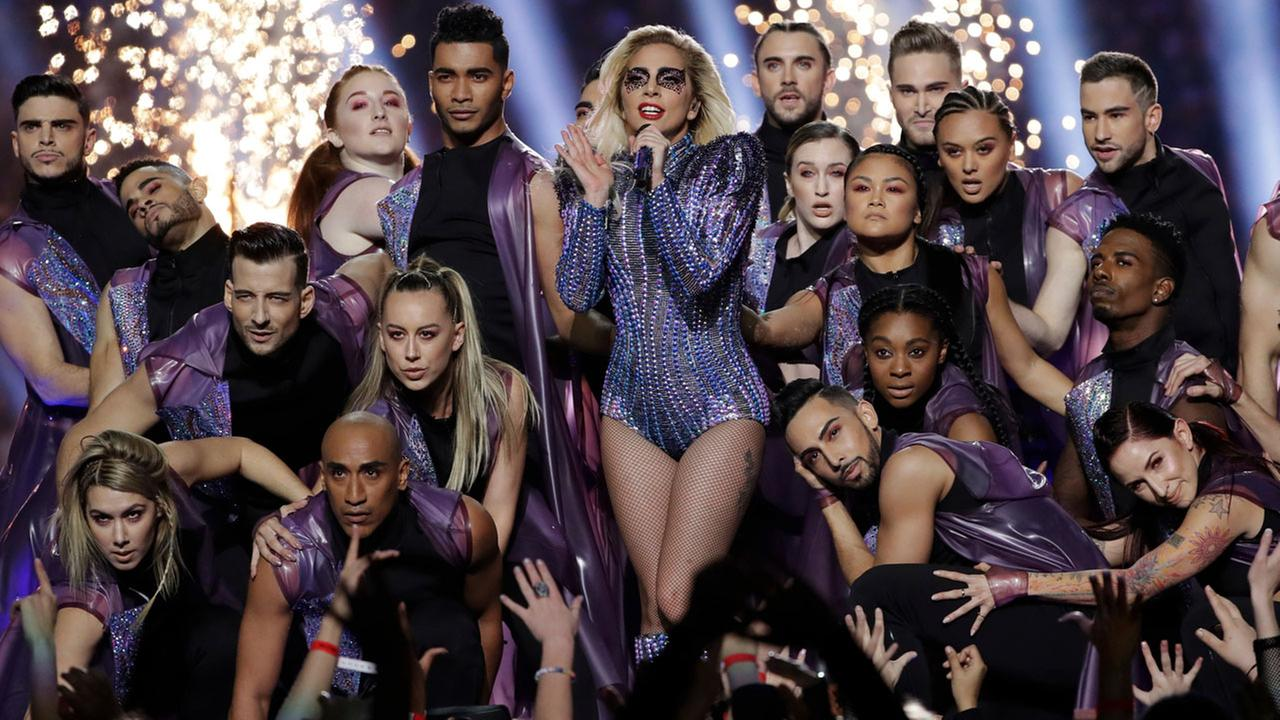 Lady Gaga performs during the halftime show of the NFL Super Bowl 51 football game between the Atlanta Falcons and the New England Patriots Sunday, Feb. 5, 2017, in Houston.