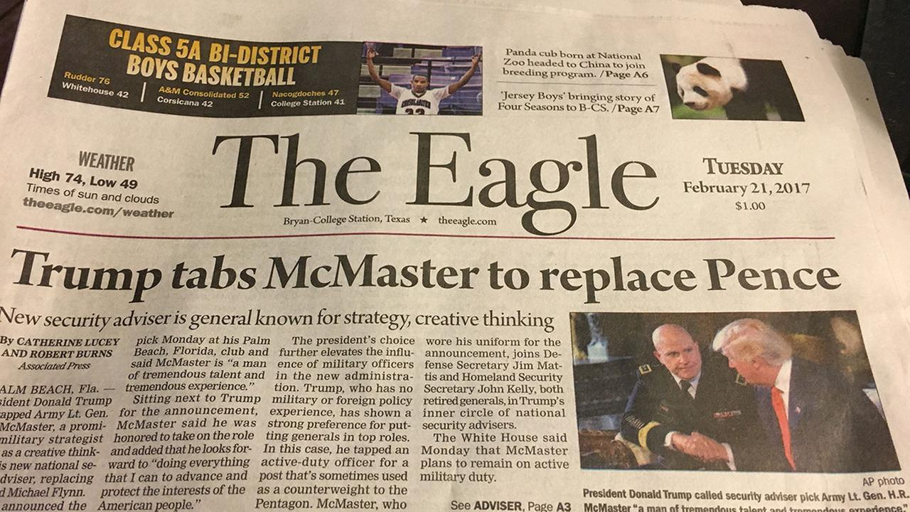 The Bryan-College Station Eagles front page on Feb. 21 incorrectly stated that Vice President Mike Pence had been fired.