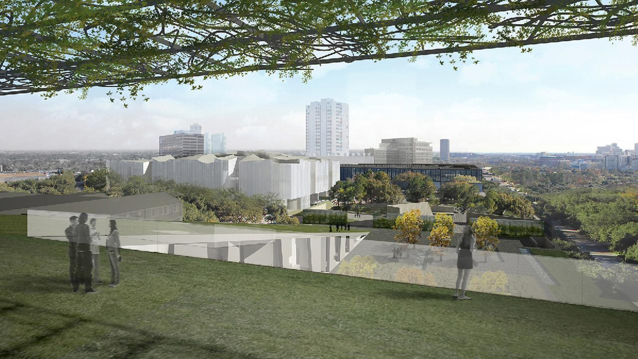 Rendering of the Nancy and Rich Kinder Building from the roof of the Glassell School of Art.