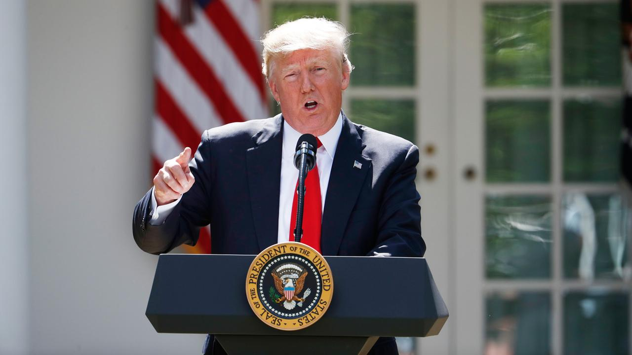 President Donald Trump speaks about the U.S. role in the Paris climate change accord, Thursday, June 1, 2017, in the Rose Garden of the White House in Washington.