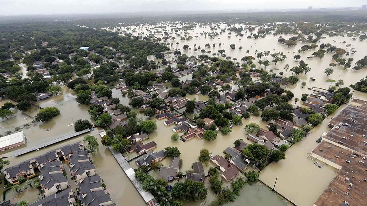 A neighborhood near Addicks Reservoir is flooded by rain from Harvey, in Houston in this Aug. 29, 2017 photo.