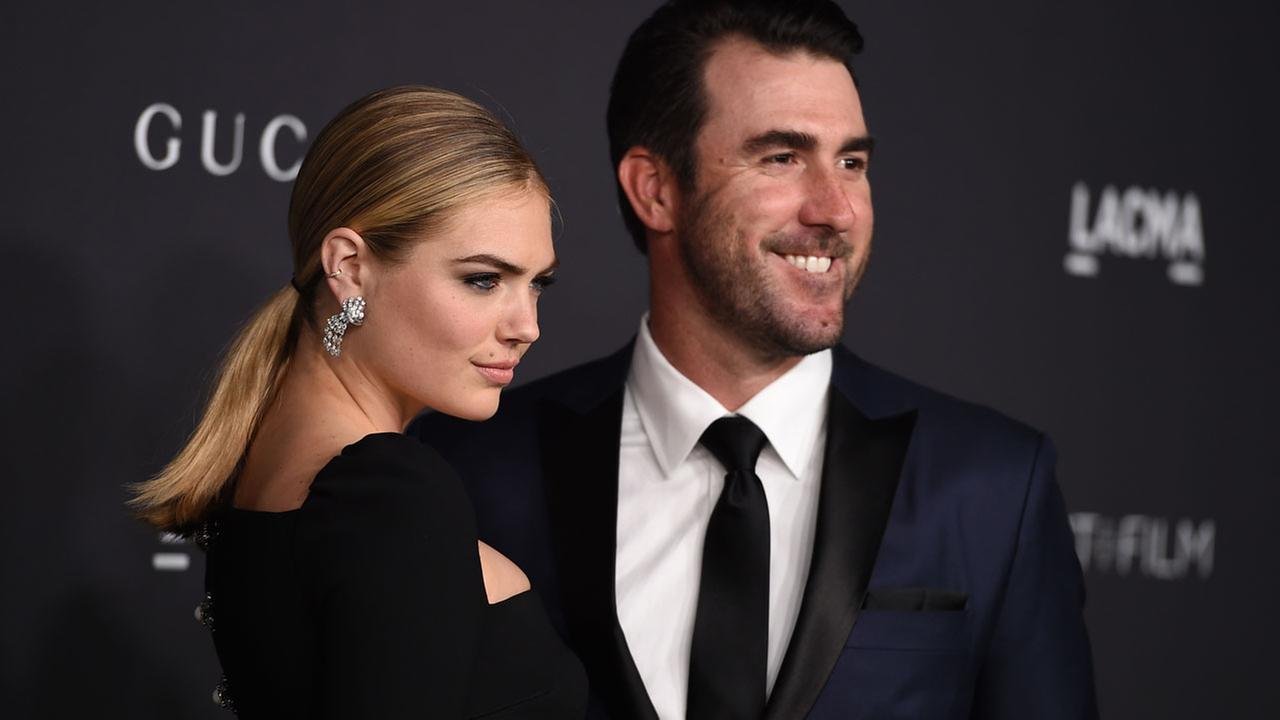 Kate Upton, left, and Justin Verlander arrive at the 2016 LACMA Art + Film Gala on Saturday, Oct. 29, 2016 in Los Angeles.