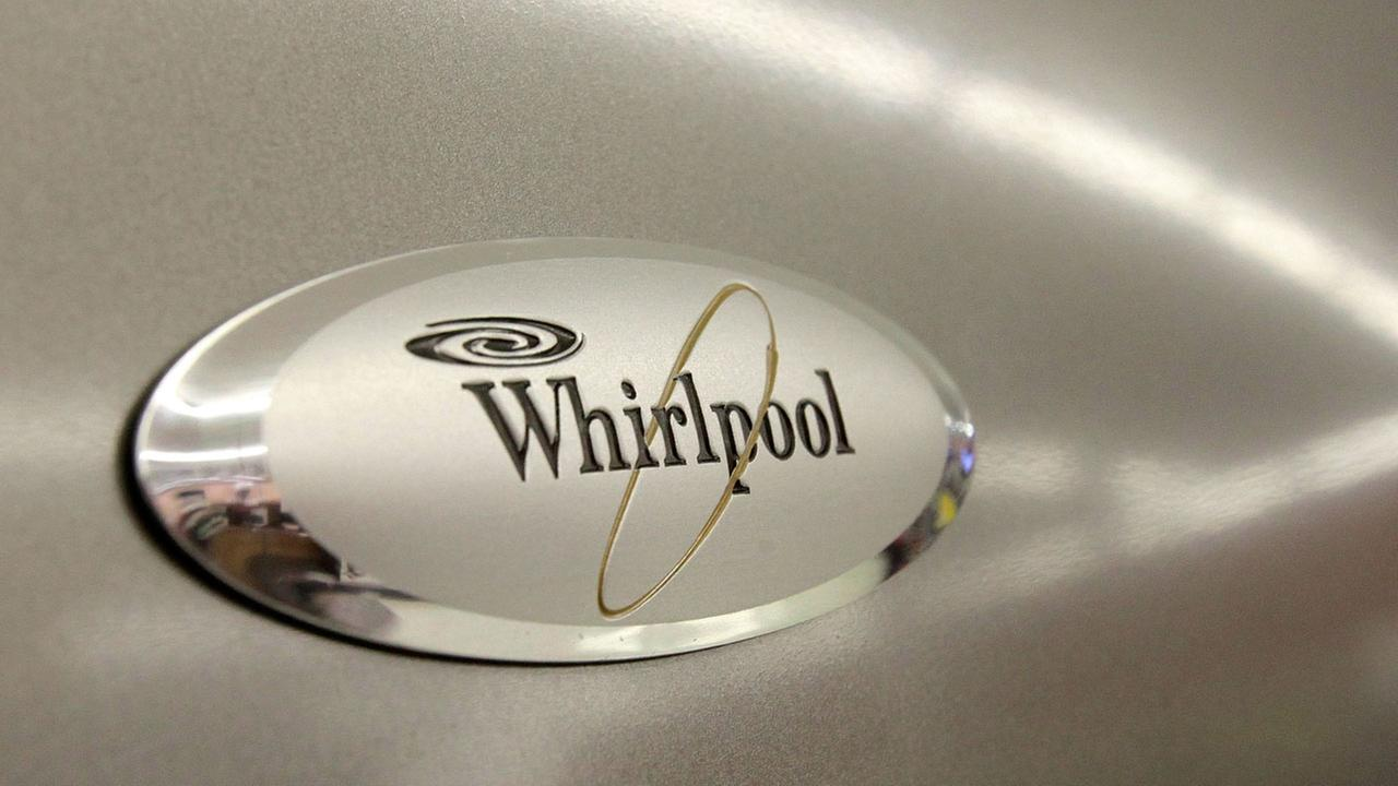 The Whirlpool logo appears on the face of a refrigerator for sale at the Sears Grand store in Solon, Ohio.