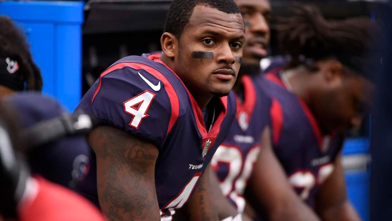 Houston Texans quarterback Deshaun Watson (4) sits on the sideline during an NFL football game against the Cleveland Browns on Sunday, Oct. 15, 2017, in Houston.