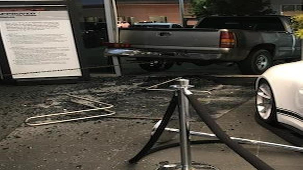 Suspects use truck in attempted burglary at southwest Houston Porsche dealership.