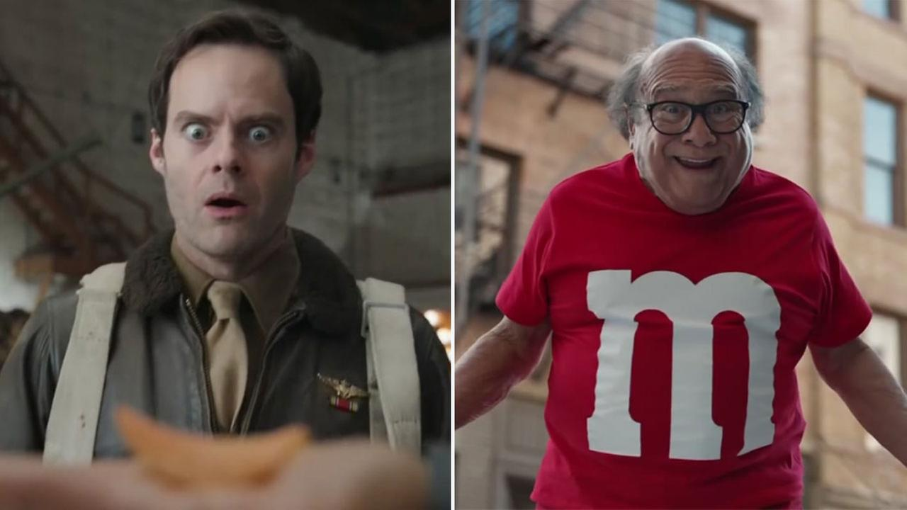 Bill Hader, left, is set to star in a commercial for Pringles. Danny DeVito, right, takes on the role of an M&M come to life.