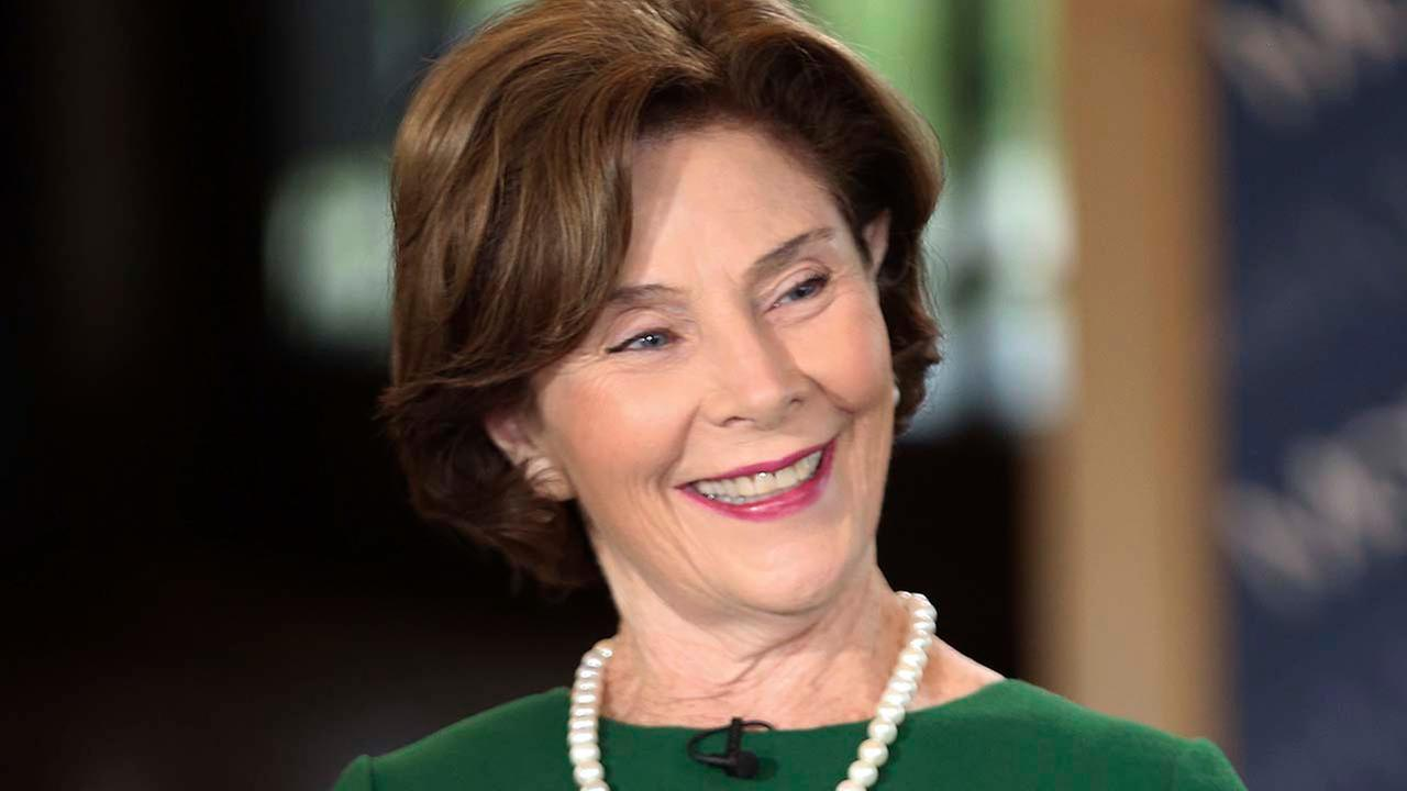 Laura Bush is interviewed by host Maria Bartiromo on the Mornings with Maria Bartiromo program on the Fox Business Network at the George W. Bush Presidential Library.
