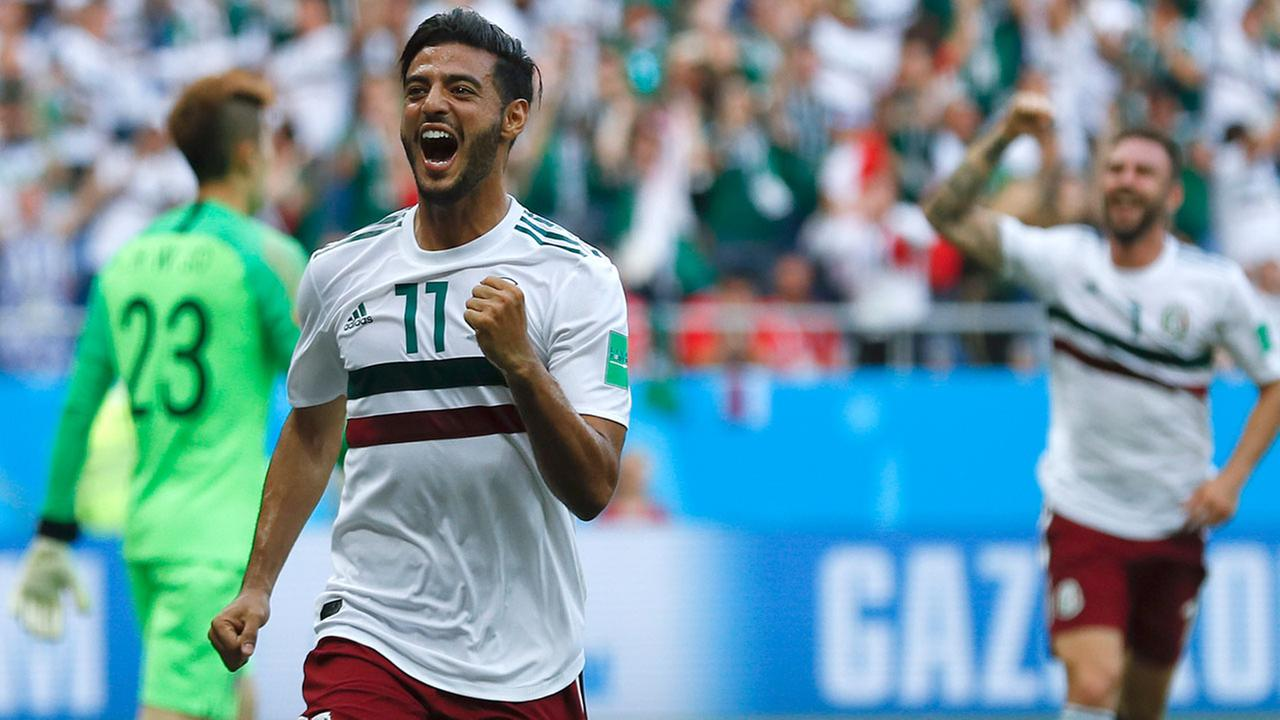 Mexicos Carlos Vela celebrates after scoring the opening goal during the group F match between Mexico and South Korea at the 2018 soccer World Cup.