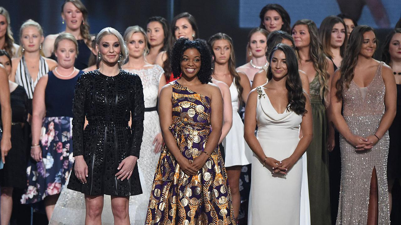 Former gymnast Sarah Klein, former Michigan State softball player Tiffany Thomas Lopez and gymnast Aly Raisman and others who suffered sexual abuse at ESPY Awards.