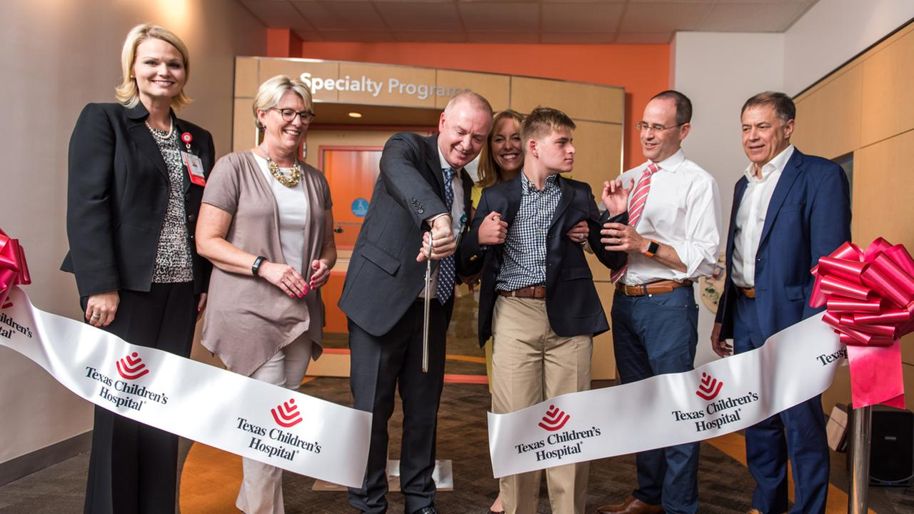 Ribbon cutting ceremony at Texas Childrens Hospital to celebrate the opening of the Angelman Syndrome Clinic.