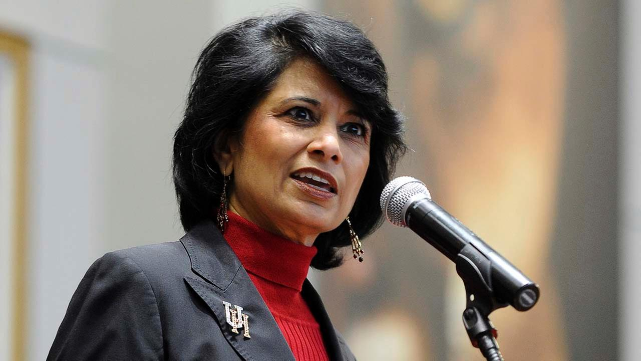 University of Houston president and chancellor Renu Khator speaks during a news conference, in Houston