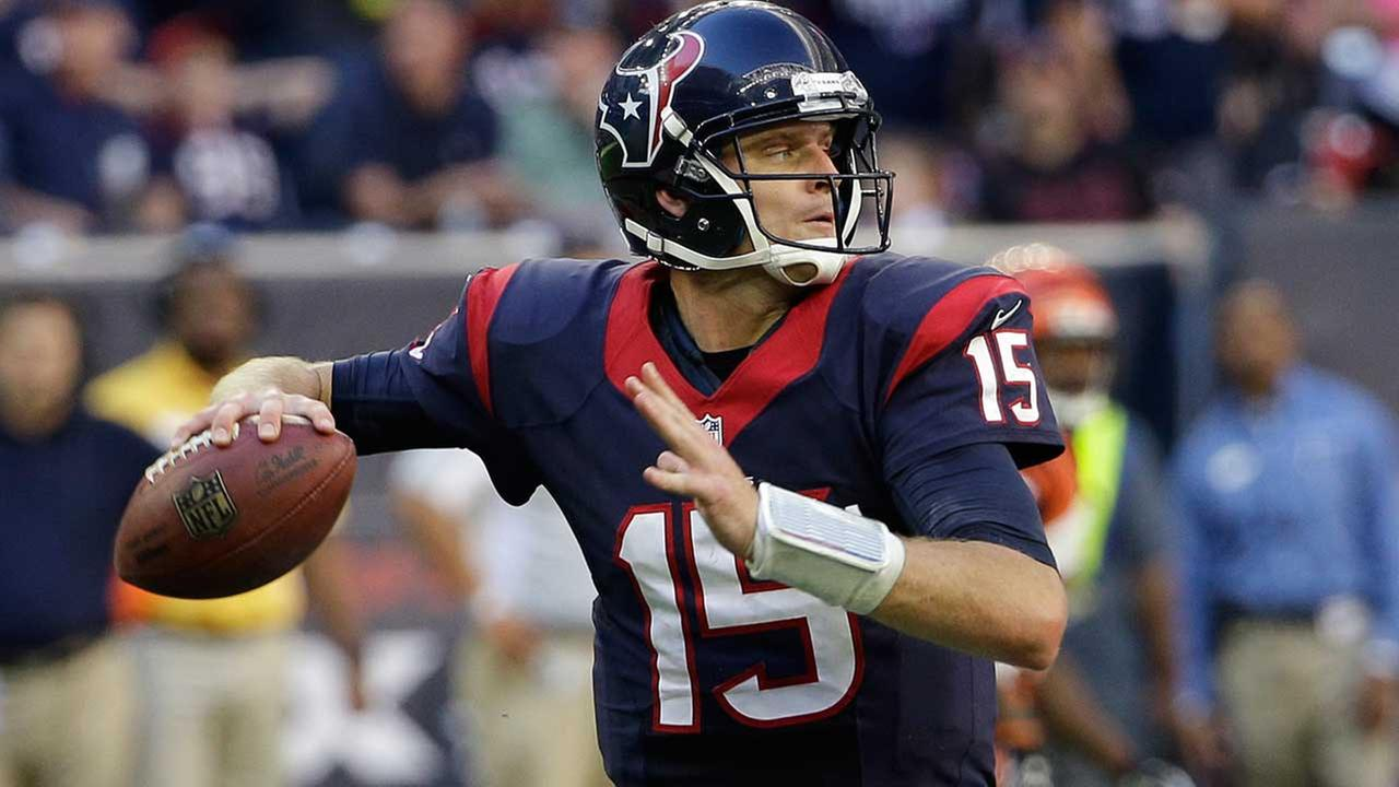 Houston Texans Ryan Mallett (15) looks to throw against the Cincinnati Bengals during the fourth quarter of an NFL football game, Sunday, Nov. 23, 2014, in Houston.