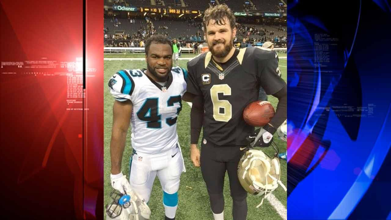 Former Pearland Oiler football players Fozzy Whittaker (left) of the Carolina Panthers and Thomas Morstead of the New Orleans Saints met Sunday in New Orleans.