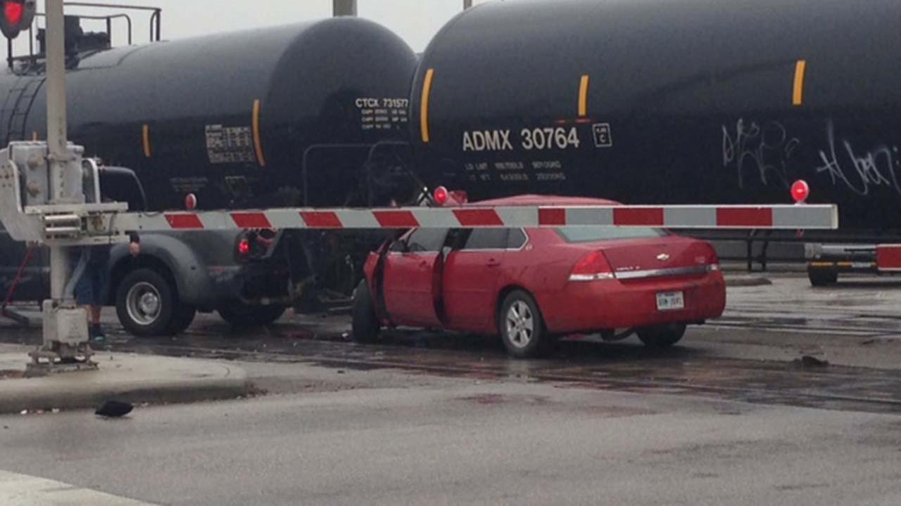 HFD: Train hits 2 vehicles in southwest Houston
