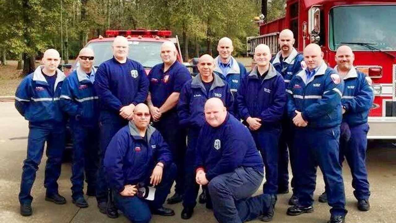 Members of the New Caney and Splendora fire departments shaved their heads in support of Chief Zach Rutledges wife, who was recently diagnosed with cancer.