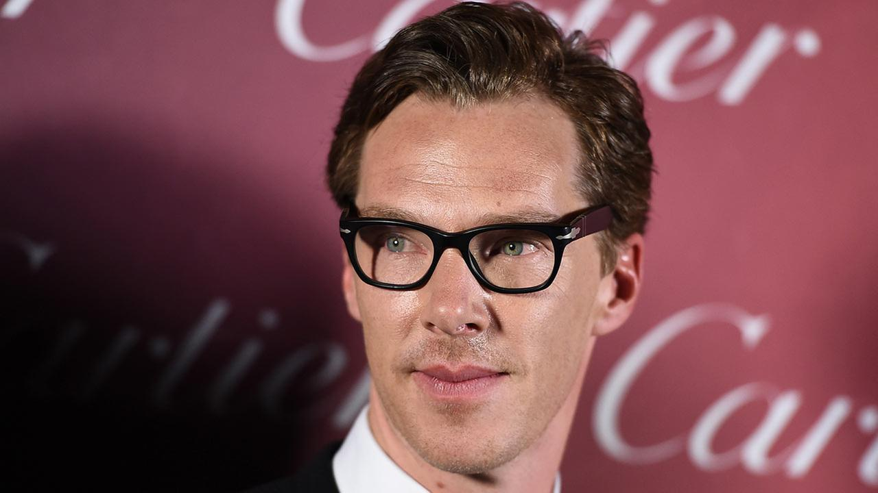 Benedict Cumberbatch, of The Imitation Game, poses in the press room after winning the ensemble performance award at 26th annual Palm Springs International Film Festival Awards