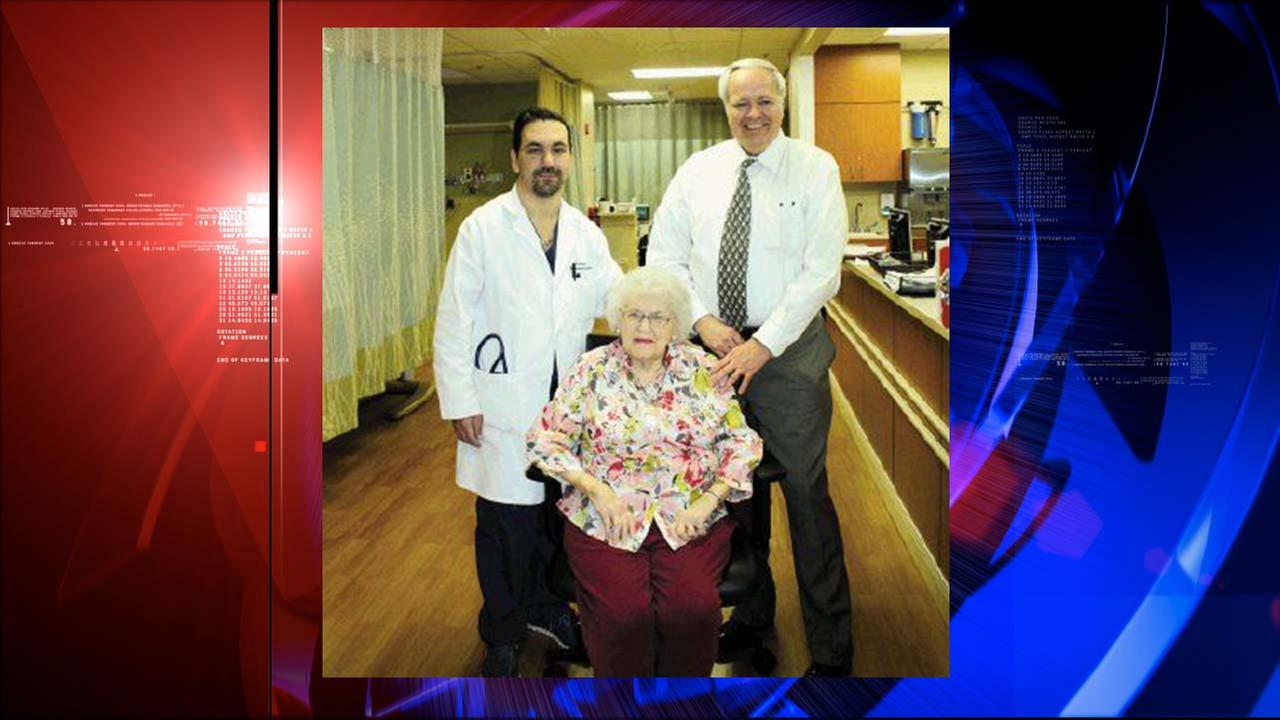 Dr. Rick Ganim reunites with heart patient Marie Holt pictured with Steve Tillotson, her son-in-law, two weeks after the heart procedure was performed that saved her life.