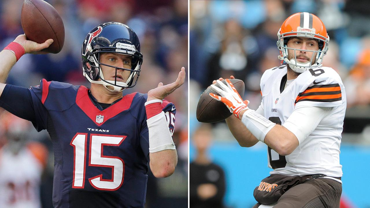 Houston Texans Ryan Mallett (15) and Cleveland Browns Brian Hoyer (6)