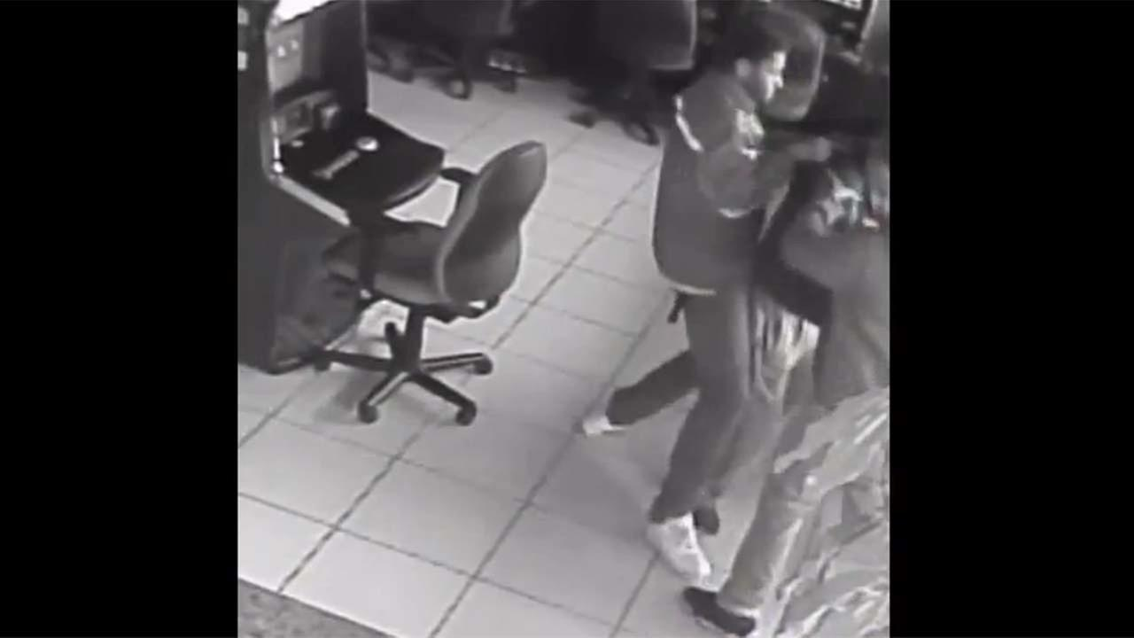 A still image taken from surveillance video of the game room robbery
