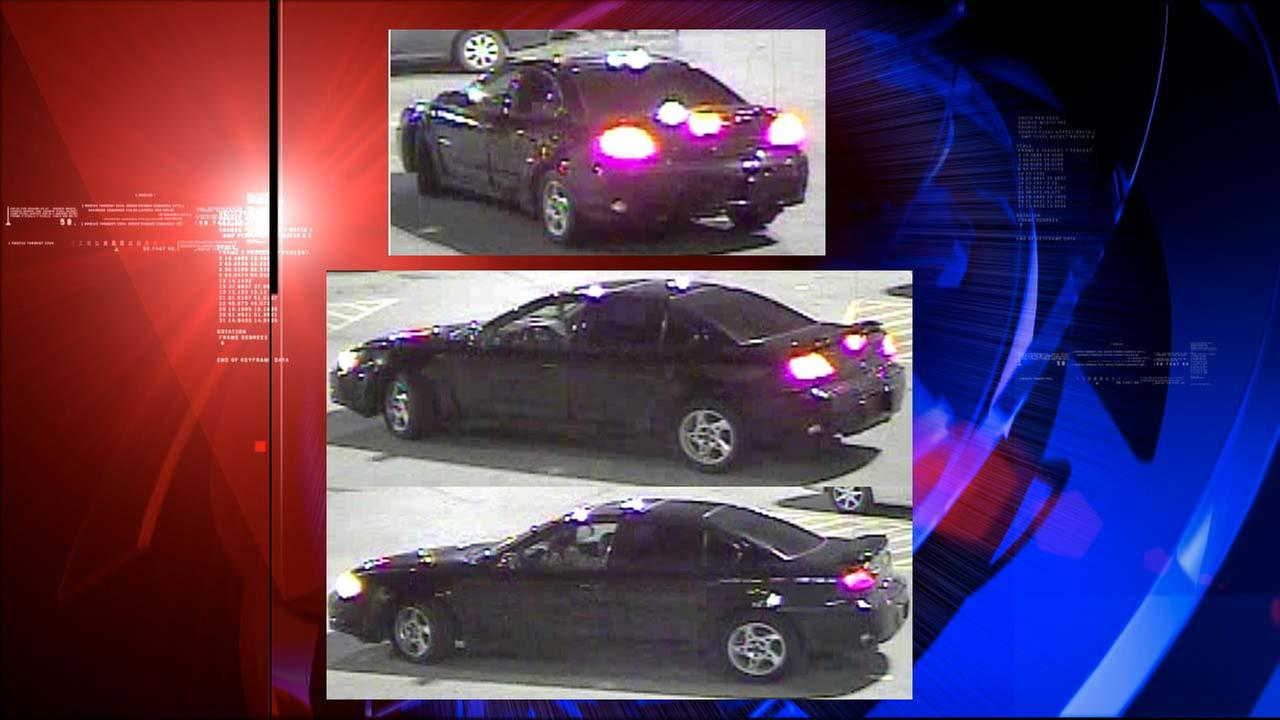 Surveillance photos of the suspect or suspects last seen in a black Pontiac Grand Am with no license plates.