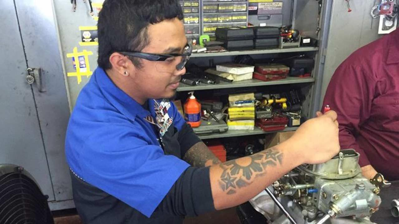 Charles Rebugio of Katy got hands-on experience as an auto mechanic at the UTI Houston campus