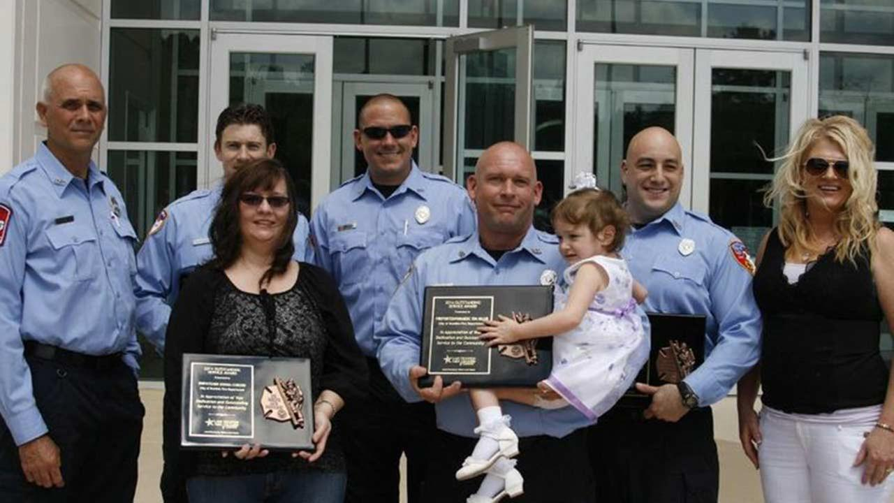 City of Humble paramedics and first responders Tom Miller, Garry Hoyt, Cipriano Sawyer, Todd Bailey, Sean McDowell and dispatcher Donna Coborn were honored today.