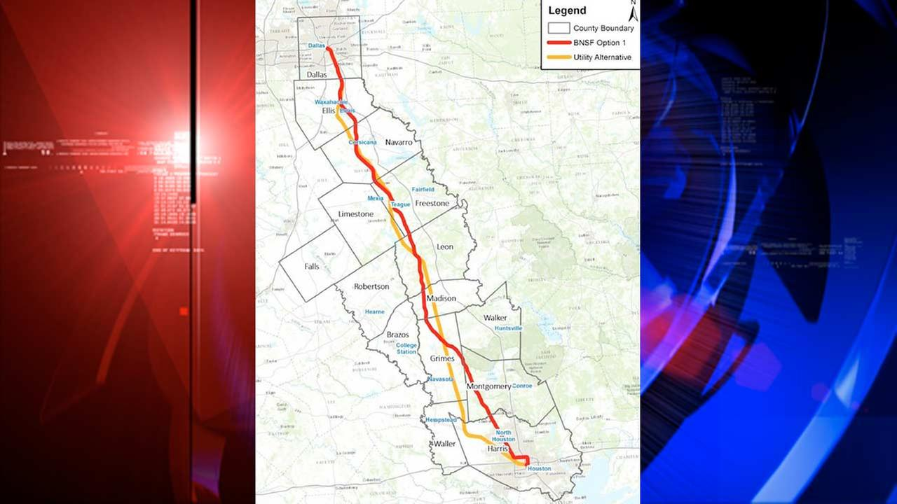 The proposed routes for the Texas Central High-Speed Railway.