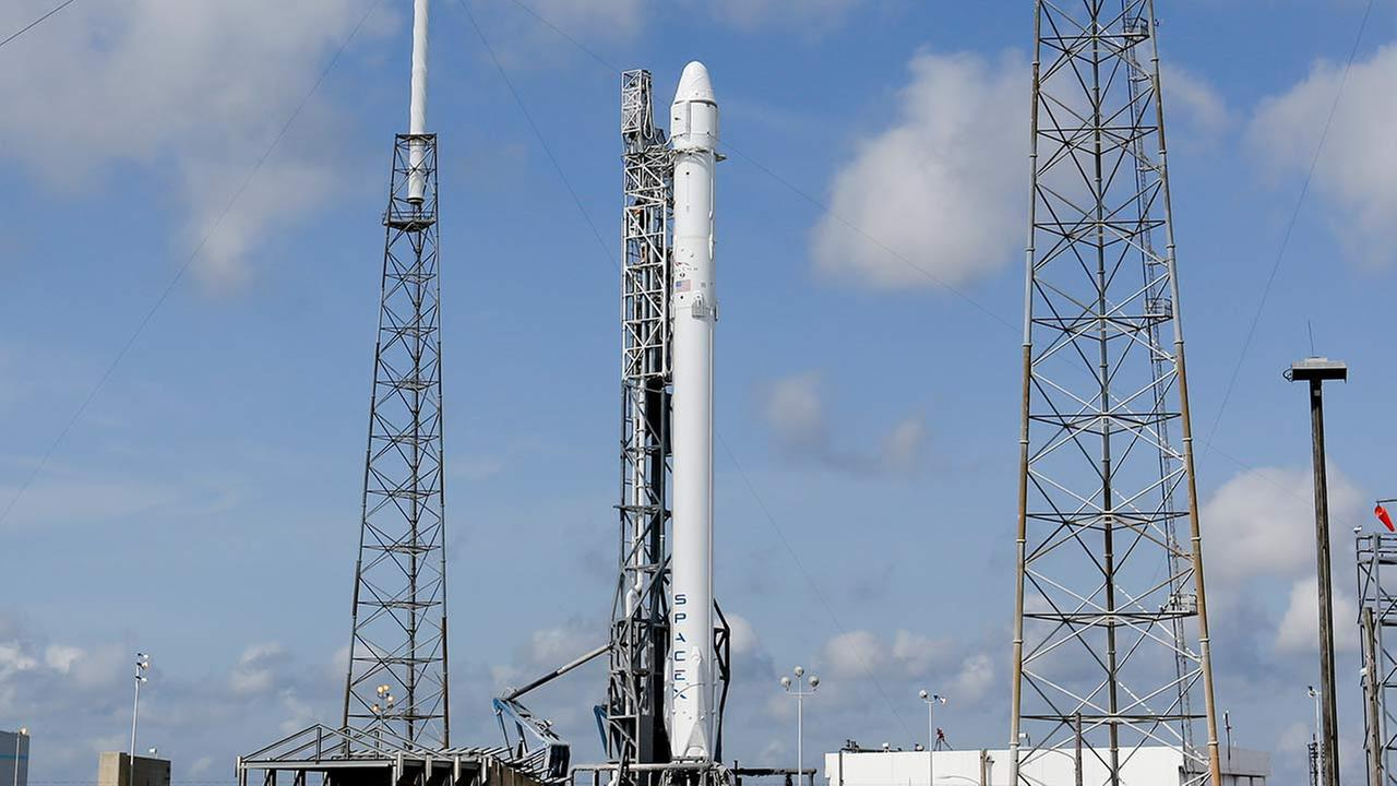 The Falcon 9 SpaceX rocket stands ready for launch at Complex 40 at the Cape Canaveral Air Force Station in Cape Canaveral, Fla., Monday, April 13, 2015