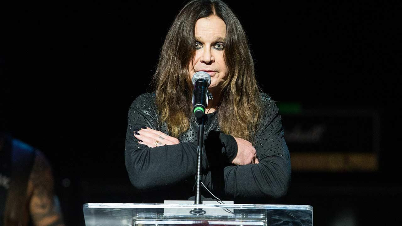 Ozzy Osbourne speaks on stage at the 10th annual MusiCares MAP Fund Benefit Concert at Club Nokia on Monday, May 12, 2014 in Los Angeles.
