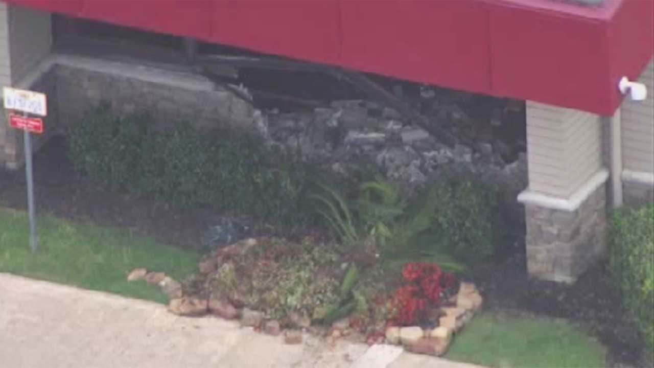 A car crashed into a Dennys restaurant in northwest Houston on Airline Drive at North Freeway