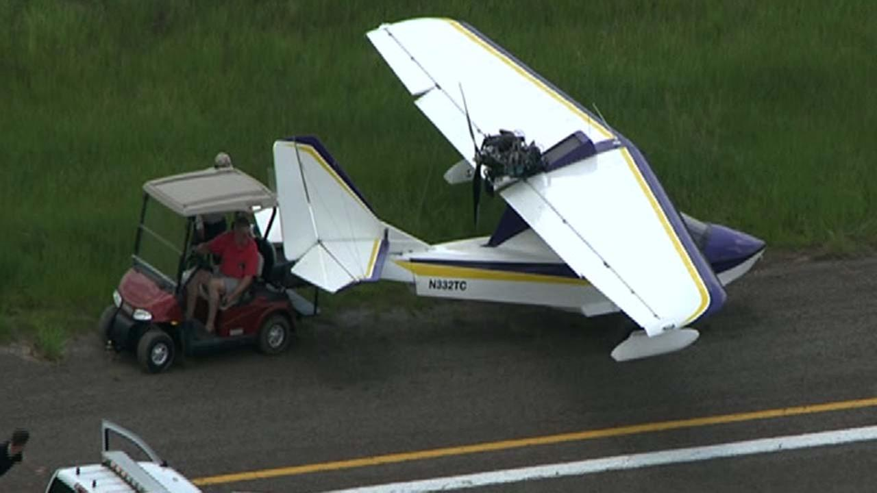 A small plane seen off the runway at Hooks Airport this afternoon