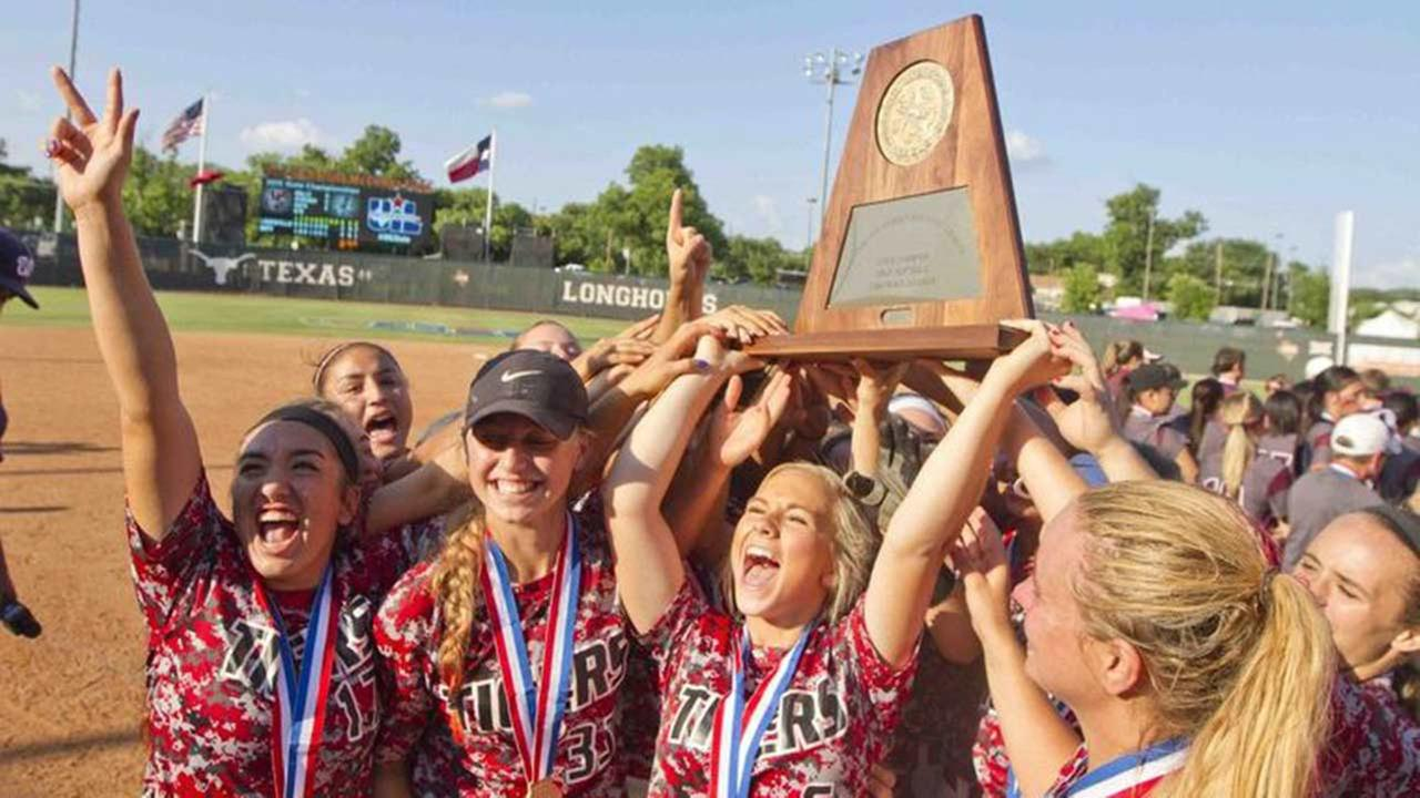 Katy players celebrate after winning the Class 6A state championship June 6 in Austin. Katy defeated The Woodlands 3-2 in the state semifinal and Lewisville 3-2 in the final to win