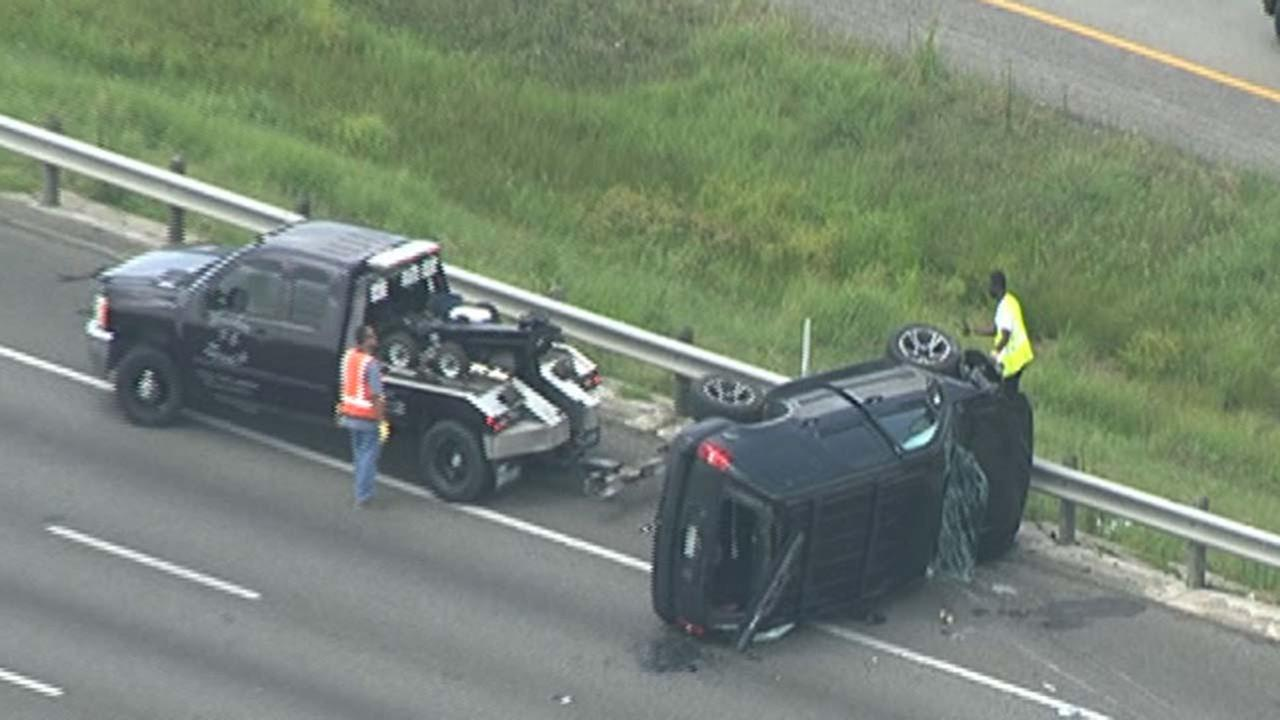 A rollover accident closed all lanes on SH-288 southbound this afternoon