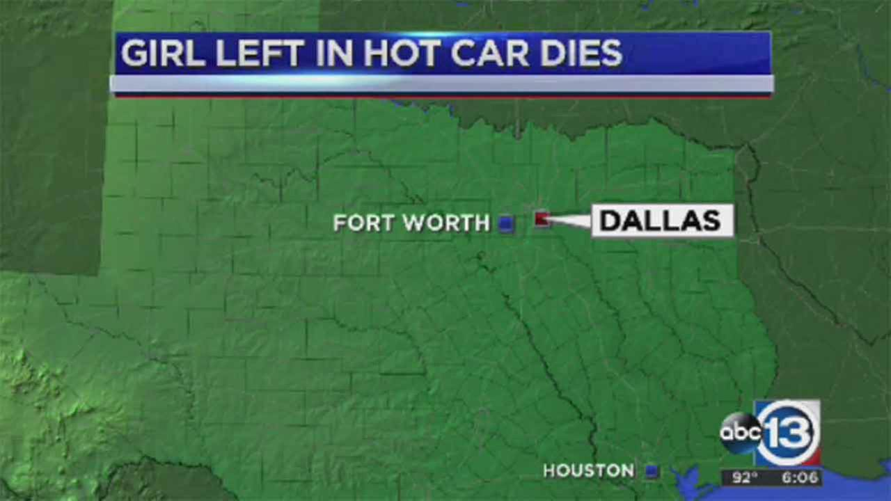 Girl, 2, dies after being left in hot car in Dallas