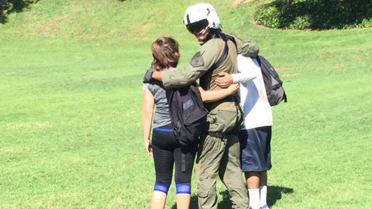 An image released by the Los Angeles County Sheriffs Office shows the couple and an emergency responder