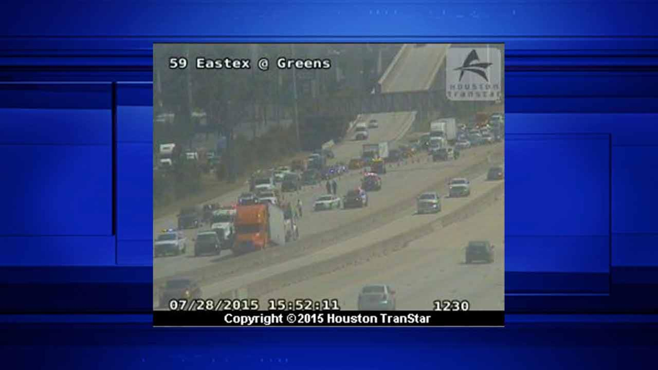 Several NB lanes of Eastex Freeway at Greens Rd. blocked due to wreck