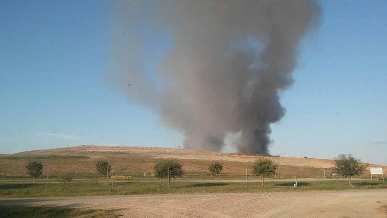 Firefighters battling 5-alarm fire at landfill near Needville