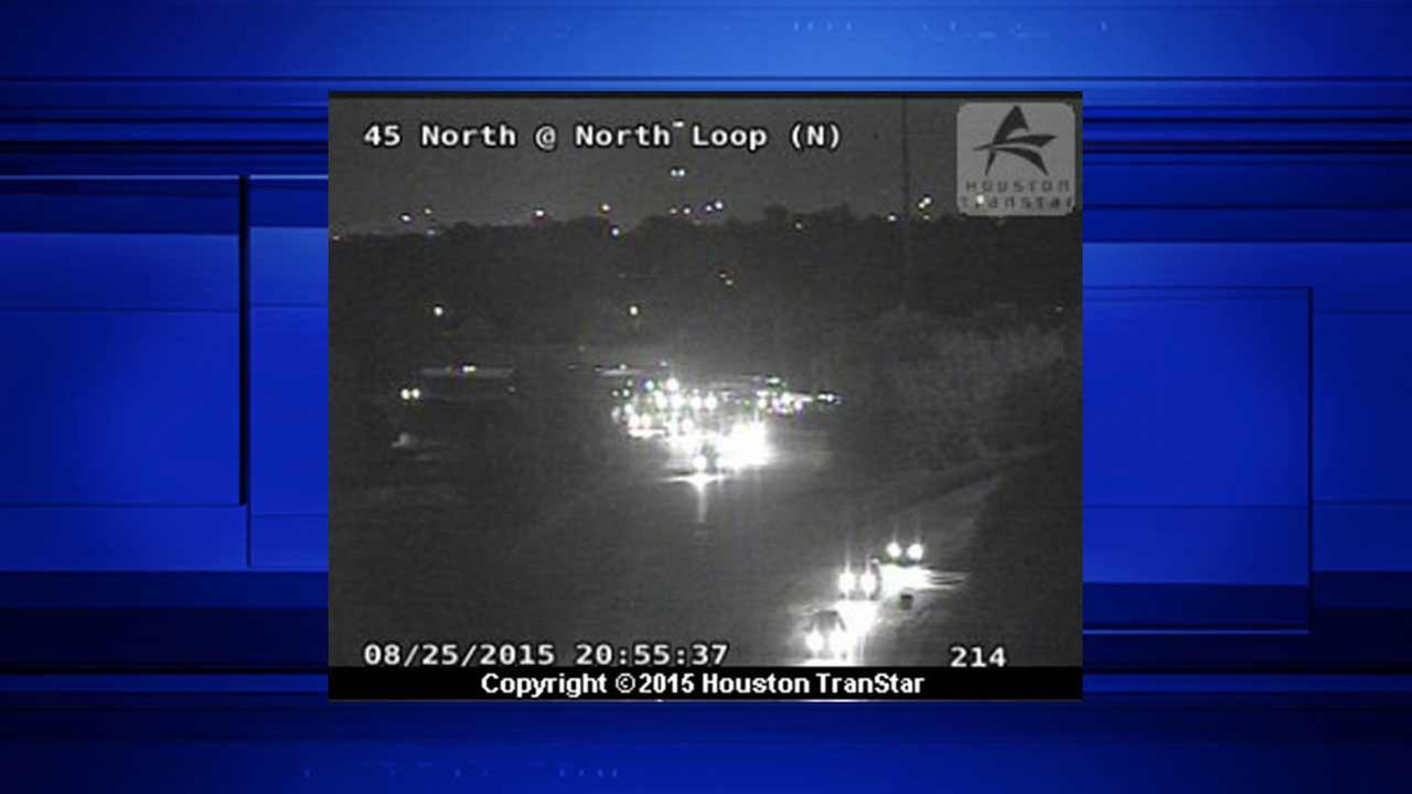 All westbound lanes of North Loop at I-45 closed due to wreck